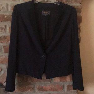 Madewell Buckley Tailors Cropped Blazer Blue Black